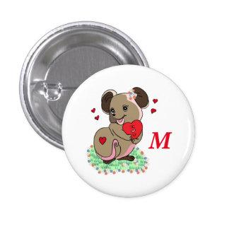 Pequeño ratón lindo que lleva a cabo un corazón pin redondo 2,5 cm