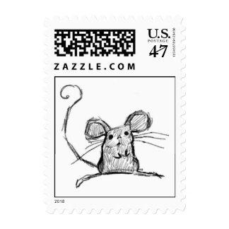 Pequeño ratón lindo sello