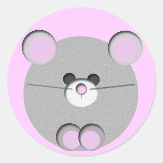 Pequeño ratón pegatina redonda