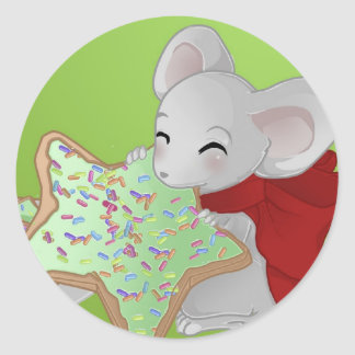 Pequeño ratón thiefing del navidad etiquetas redondas