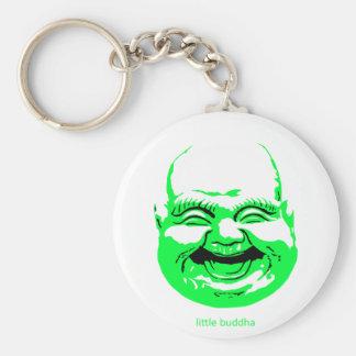 pequeño reír-Buda verde Llavero Redondo Tipo Pin