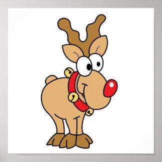 Pequeño reno rojo feliz lindo de la nariz poster