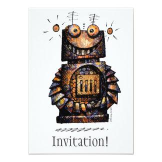 "Pequeño robot divertido invitación 5"" x 7"""