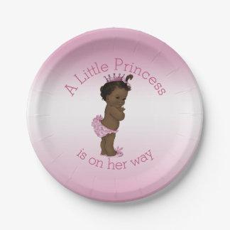 Pequeño rosa étnico de la princesa fiesta de plato de papel de 7 pulgadas