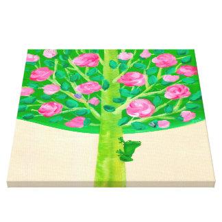 Pequeño rosado alegre de la rana el | del árbol el lienzo envuelto para galerías