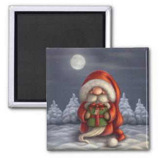Pequeño Santa con un regalo Imán Cuadrado