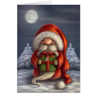 Pequeño Santa con un regalo Tarjeta De Felicitación