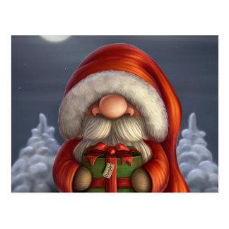 Pequeño Santa con un regalo Tarjetas Postales