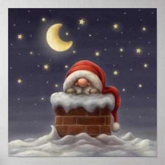 Pequeño Santa en una chimenea Impresiones