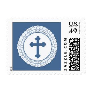Pequeño sello cruzado azul