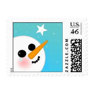 Pequeño sello cuadrado del muñeco de nieve