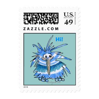 Pequeño sello del kiwi del dibujo animado azul lin