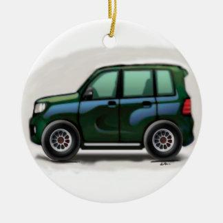 Pequeño SUV verde de cuatro ruedas Ornaments Para Arbol De Navidad