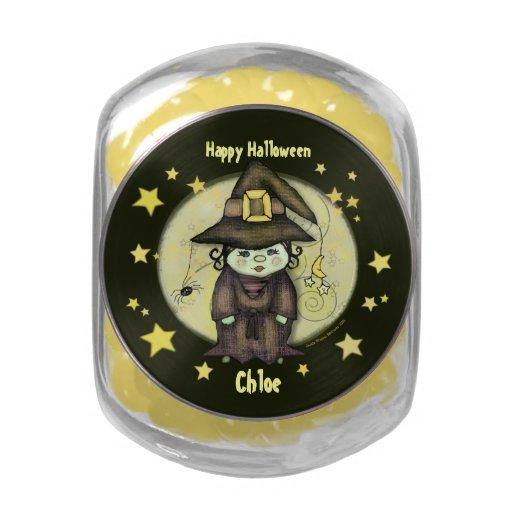 Pequeño tarro de encargo del caramelo de la bruja  jarrones de cristal