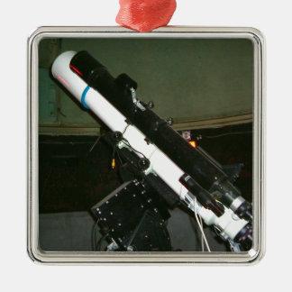 Pequeño telescopio del planetario adorno cuadrado plateado