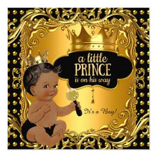 """Pequeño traqueteo del oro del príncipe fiesta de invitación 5.25"""" x 5.25"""""""