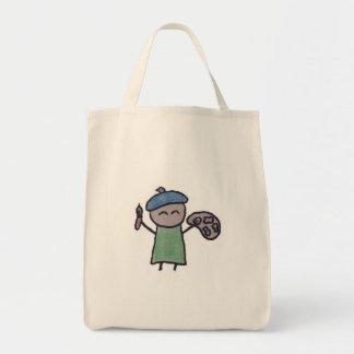 Pequeño un bolso de ultramarinos del artista bolsa lienzo