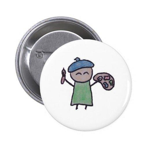 Pequeño un botón del artista pins