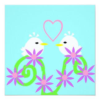 Pequeño White Birds en amor para siempre Invitación 13,3 Cm X 13,3cm