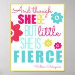 Pequeño y feroz - brillante y colorido póster