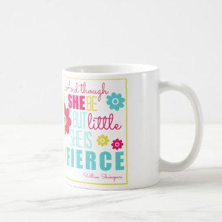 Pequeño y feroz - brillante y colorido taza básica blanca