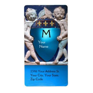 PEQUEÑO zafiro del azul del MONOGRAMA de los ÁNGEL Etiquetas De Envío