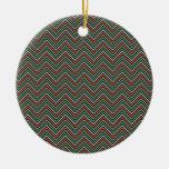 Pequeño zigzag negro amarillo Chevron Adorno De Navidad