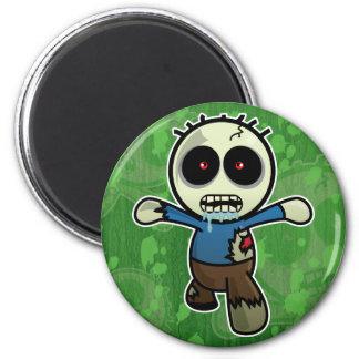 Pequeño zombi lindo del dibujo animado imán redondo 5 cm