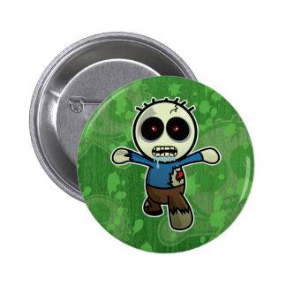 Pequeño zombi lindo del dibujo animado pin redondo de 2 pulgadas