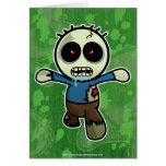 Pequeño zombi lindo del dibujo animado tarjeta de felicitación