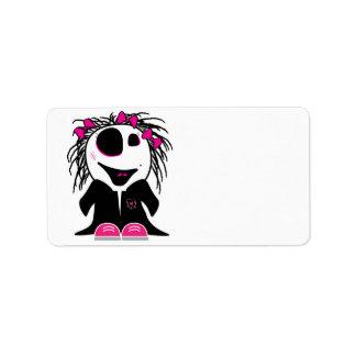 pequeño zombi lindo femenino etiquetas de dirección