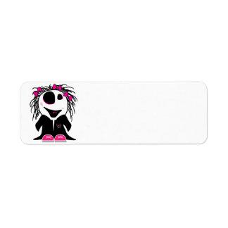 pequeño zombi lindo femenino etiqueta de remite