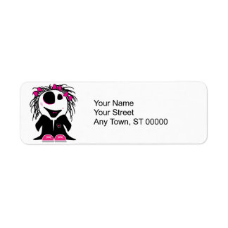 pequeño zombi lindo femenino etiquetas de remite