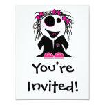 pequeño zombi lindo femenino invitación 10,8 x 13,9 cm