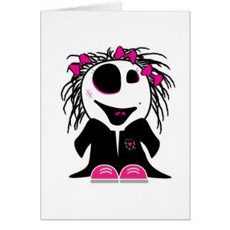 pequeño zombi lindo femenino tarjeta de felicitación