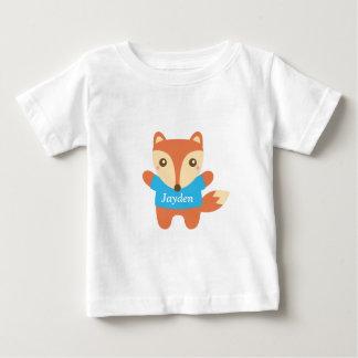 Pequeño zorro lindo en azul, para el bebé t shirt