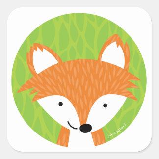 Pequeños amigos astutos del arbolado Fox Pegatina Cuadrada