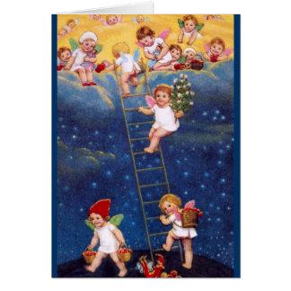 Pequeños ángeles del navidad tarjeta de felicitación