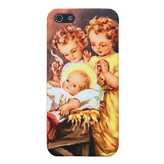 Pequeños ángeles en el pesebre iPhone 5 carcasas