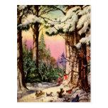Pequeños animales en la nieve tarjeta postal