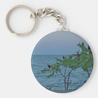 Pequeños árboles en a orillas del lago llavero redondo tipo pin