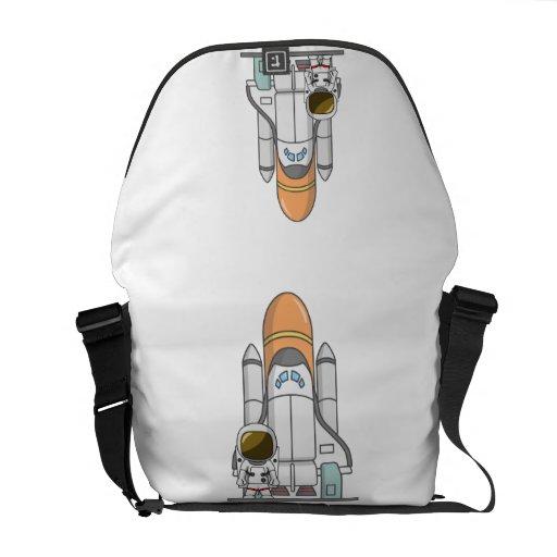 Pequeños astronauta y nave espacial bolsas de mensajeria