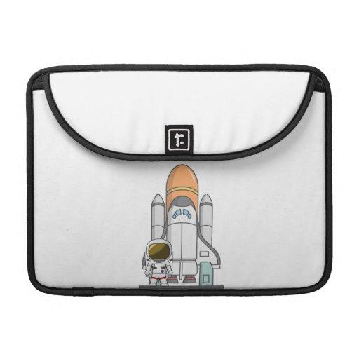 Pequeños astronauta y nave espacial fundas para macbooks