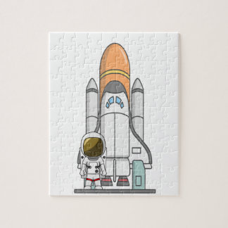 Pequeños astronauta y nave espacial rompecabezas con fotos
