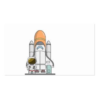 Pequeños astronauta y nave espacial tarjetas de visita