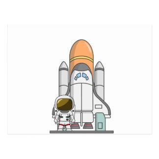 Pequeños astronauta y nave espacial tarjetas postales