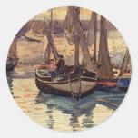 Pequeños barcos de pesca de Mauricio Prendergast-, Etiqueta Redonda