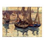 Pequeños barcos de pesca de Mauricio Prendergast-, Tarjeta Postal