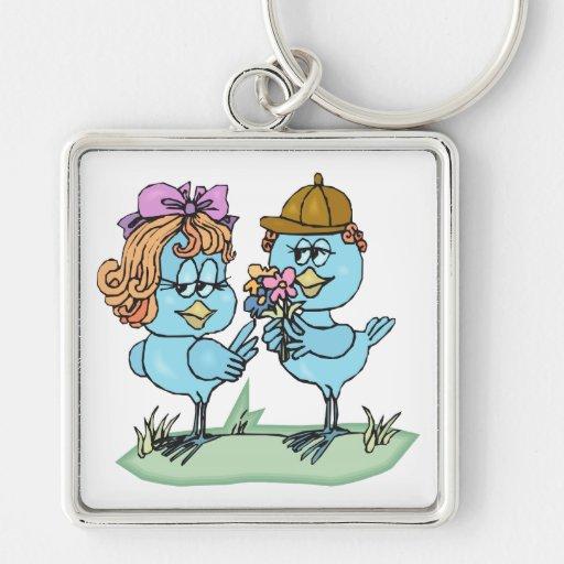 pequeños bluebirds lindos en gráfico del dibujo an llaveros