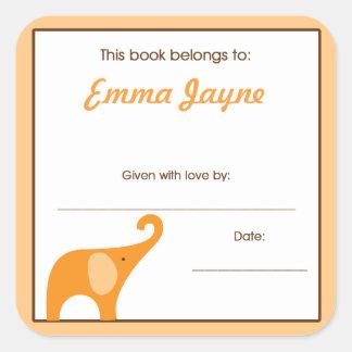 Pequeños Bookplates anaranjados de la placa de lib Calcomanias Cuadradas
